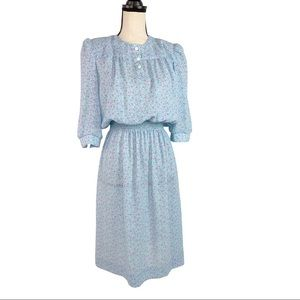 Vintage Lady Carol ILGWU Blue Floral Midi Dress S